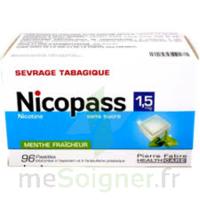NICOPASS 1,5 mg Past sans sucre menthe fraîcheur Plq/96 à Seysses