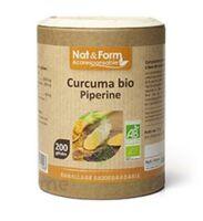 Nat&form Eco Responsable Curcuma + Pipérine Bio Gélules B/200 à Seysses